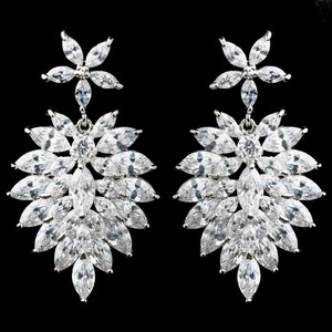 Elegance By Carbonneau Marquise Cz Cluster Bridal Earrings