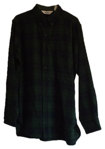 Woolrich Button Down Shirt Dark green plaid