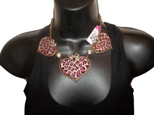 Betsey Johnson Betsey Johnson Iconic Leopard Pink Heart Statement Necklace