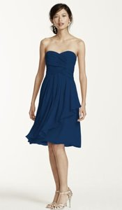 07b80155131 David s Bridal Blue Marine Chiffon F14847 Feminine Bridesmaid Mob Dress Size  12 ...