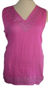 Avenue Side Tails Gauzy Top PINK W SILVER TRIM