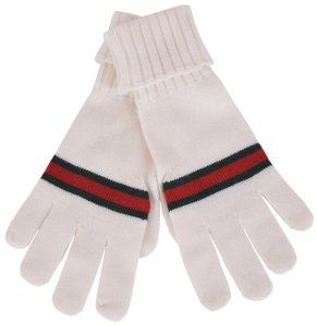 Gucci New Gucci Men's $175 294732 White Green Red Stripe Wool Gloves Mittens XL