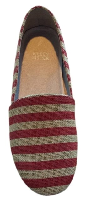 Item - Red/Natural Stripe Tulip Flats Size US 7.5 Regular (M, B)