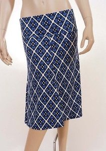 Max Studio 5704w16 Womens Blue White Geometric Knee Length A Line Skirt Multi-Color