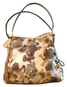 Coach Canvas Leather Print Satchel in Multicolor