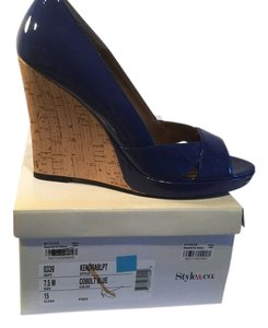 Style & Co Blue patent Wedges