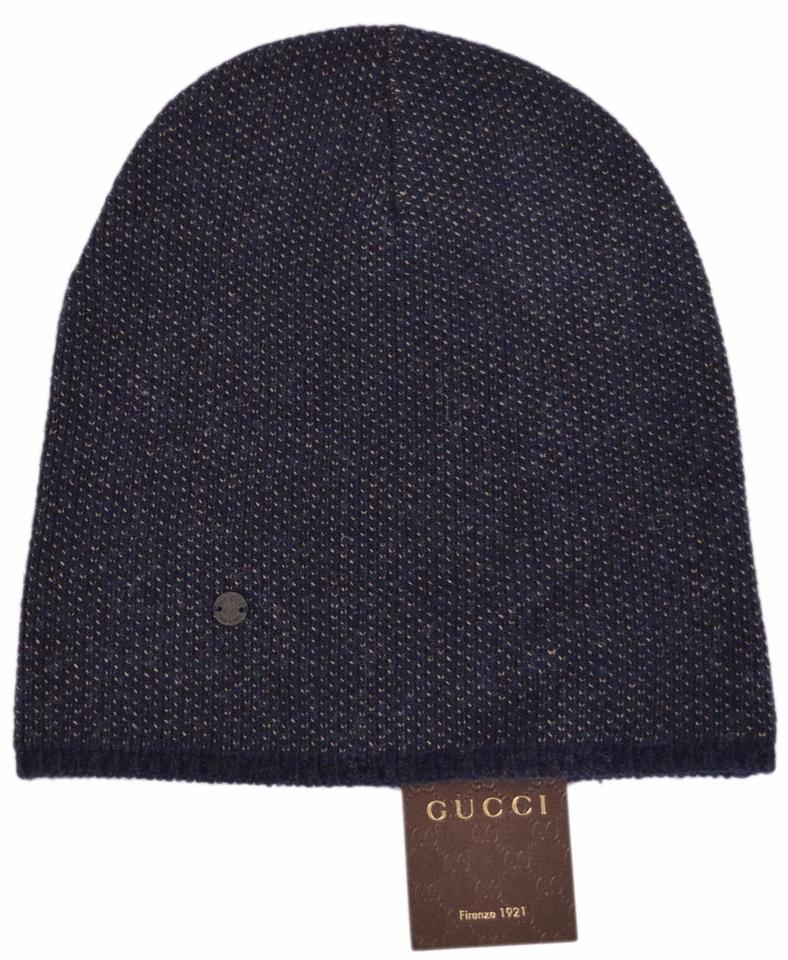 ... new styles 6327c 2af45 Gucci Blue New 352350 Mens Beige Wool Cashmere  Beanie Winter Xl Hat ... 767f7f6a64f