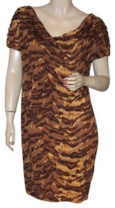 Diane von Furstenberg Animal Print Tiger Silk Silk Dress