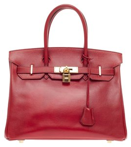 Hermès Hermes Leather Tote in Red