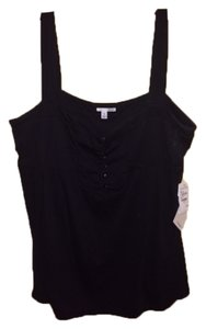 Halogen Xl Cami Sleeveless Buttons Top Black