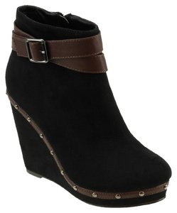 Red Circle Footwear Suede Studded Ankle Strap Comfortable Casual Shannon Black Boots