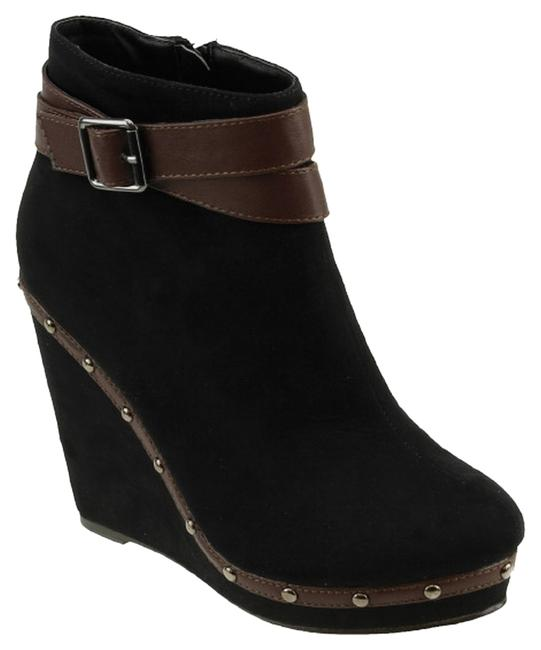 Item - Shannon Black Suede Studded Ankle Strap Comfortable Casual Boots/Booties Size US 11