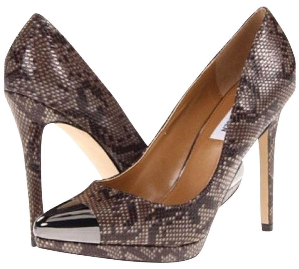 5c4db75e401 Steve Madden Poin Pointed Stiletto Chic Python Snakeskin Print With Metal  Cap Toe Pumps Image 0 ...