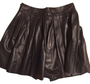 Alice + Olivia Mini Skirt Black Leather