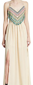 cream Maxi Dress by 5/48 Embroidered Beaded Tassels Bohemian Maxi