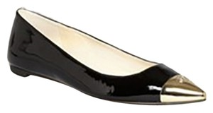 MICHAEL Michael Kors Pointed Toe Leather Patent Leather Gold Toe Black Flats