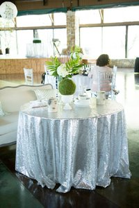 Set Of 2 Silver Sequined Tableclothes