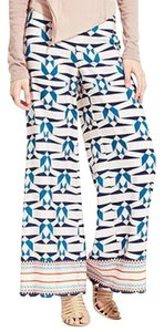 Bar III Geometric Print Elastic Waistband Relaxed Fit High Rise Wide Leg Pants Multi-Color