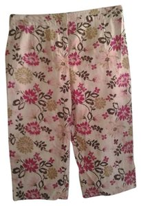 Basic Editions Plus-size Capris White/Pink Floral