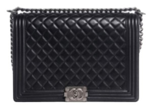 Black large Chanel boy with silver Cross Body Bag