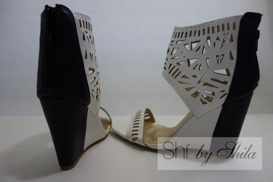 Other Beige Brown Multicolor Ponyhair Leather Pointed Toe Pump Bootie Animal Print Animal Print Embellished Laser Cut Black and White Wedges Image 1