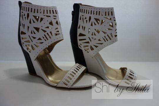 Other Beige Brown Multicolor Ponyhair Leather Pointed Toe Pump Bootie Animal Print Animal Print Embellished Laser Cut Black and White Wedges Image 2
