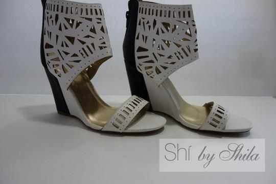 Other Beige Brown Multicolor Ponyhair Leather Pointed Toe Pump Bootie Animal Print Animal Print Embellished Laser Cut Black and White Wedges Image 3