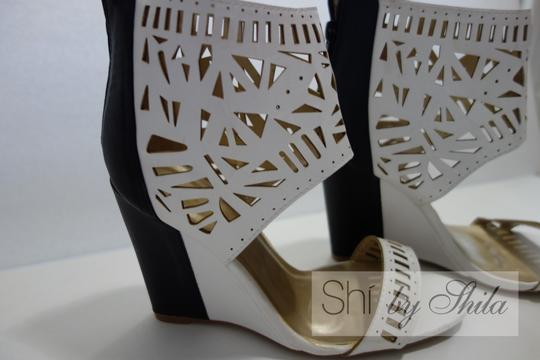 Other Beige Brown Multicolor Ponyhair Leather Pointed Toe Pump Bootie Animal Print Animal Print Embellished Laser Cut Black and White Wedges Image 4