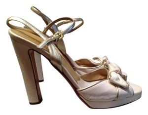 Valentino Off-white High Heel Leather Cream/ Ivory Sandals