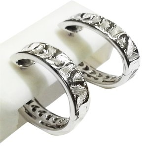 Roberto Coin Roberto Coin 18 Karat White Gold Earrings With Engraved Zebra pattern