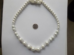 Chunky Wedding Bridal Glass White Pearl Crystal Necklace Set