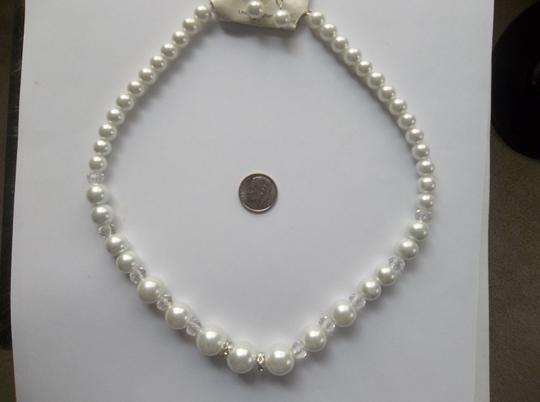 White Chunky Glass Crystal Jewelry Set