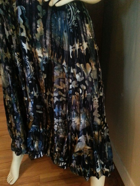 Multi -blues -brown Batik Maxi Dress by Reggae to Wear