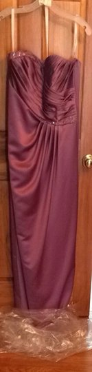 David's Bridal Purple Satin Strapless Modern Bridesmaid/Mob Dress Size 12 (L)