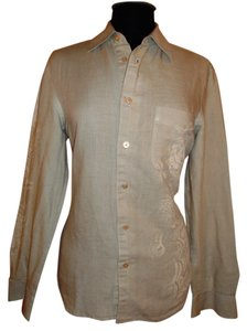 A|X Armani Exchange Shirt Linen Blend Size Small Button Down Shirt Tan