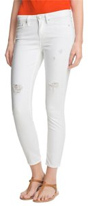 Vince Distressed Destroyed White White Denim Ankle Cropped Skinny Jeans