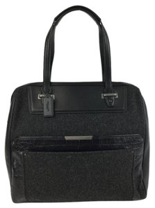 Coach Leather Linen Satchel in Black/Charcoal