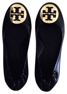 Tory Burch Black Leather w/ Gold Metal Logo Flats