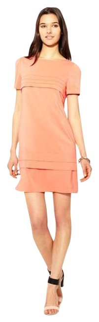 Item - Salmon Layered Crepe Shift Above Knee Work/Office Dress Size 2 (XS)