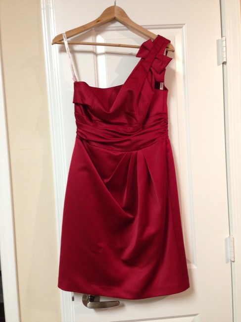 Item - Apple Red Satin One Shoulder Ruched Waist Style 84333 Formal Bridesmaid/Mob Dress Size 8 (M)