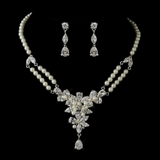 Elegance by Carbonneau Silver/Ivory Vintage Inspired Pearl and Cz Jewelry Set