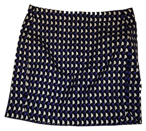 J.Crew Mini Cotton Lined Houndstooth Mini Skirt blue, white and black