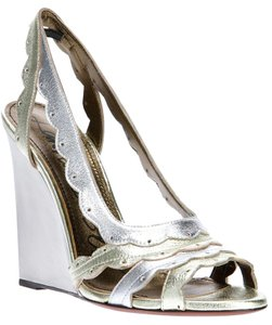 Lanvin Leather Sandals Silver Wedges