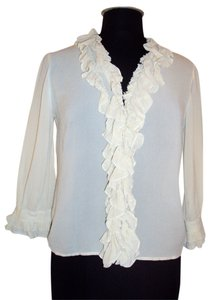 DKNY Silk Size 4 Small Top Beige