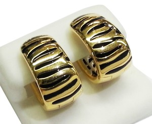 Roberto Coin Roberto Coin 18 Karat Yellow Gold Earrings With Enameled Zebra pattern