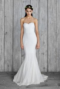 Nicole Miller Bridal Antique White Silk Perry Gi1001 Formal Wedding Dress Size 10 (M)
