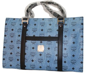 MCM Leather Mwp5snh05 7630015695774 Tote in Denim Blue