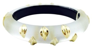 Alexis Bittar Alexis Bittar White Lucite And Gold Striped Hinged Bracelet New
