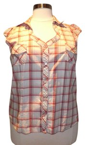Venezia by Lane Bryant Cowgirl Top Red and Cream Plaid