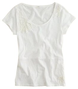 J.Crew Applique Sequins Rosettes T Shirt White